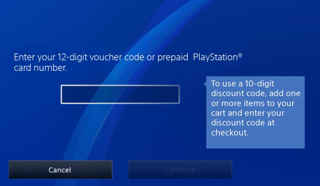 Enter voucher code on PSN console