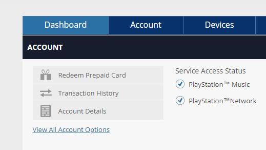 PSN dashboard redeem code screen