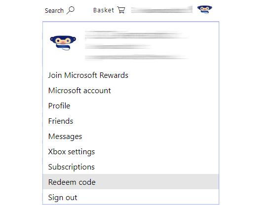 microsoft store menu redeem code