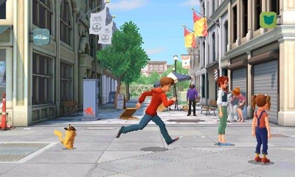 Detective Pikachu en Tim Goodman rennen
