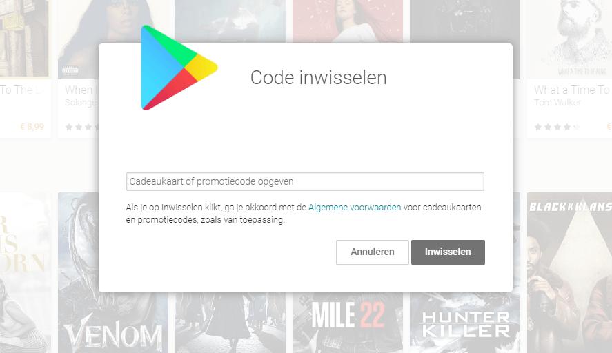 Code inwisselen voor Google Play