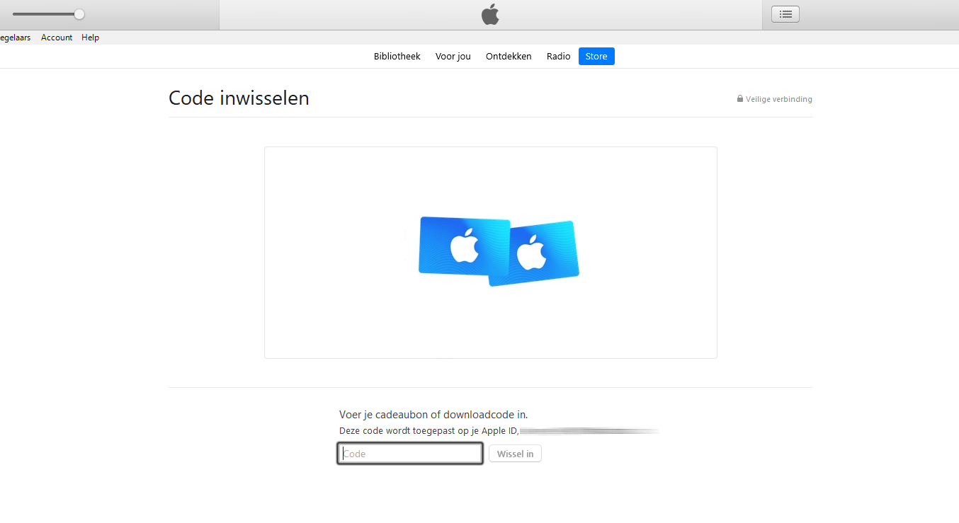 Vul hier de itunes code in