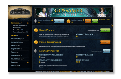 RuneCoins redeem screen