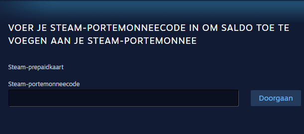 vul hier je steam code in