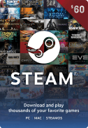Steam Gift Card $60 US
